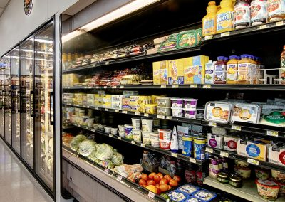 refrigerated aisle of food