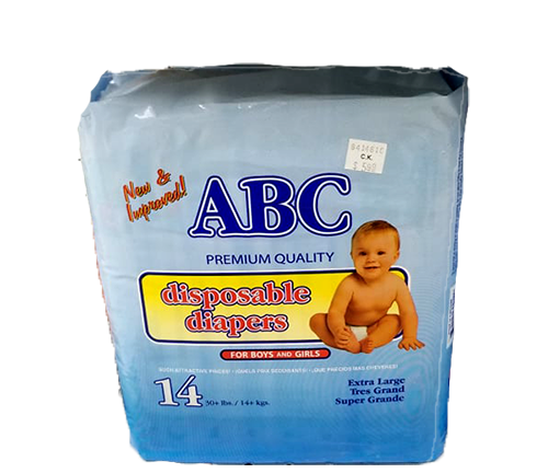 ABC Disposable Diapers - 14 count Extra Large